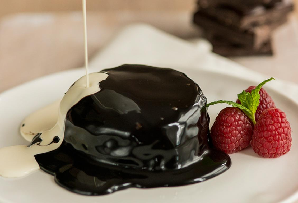 Chocolate Brownie Pudding Dark Chocolate Sauce